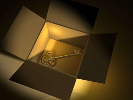 opulence: Golden key in box - 3d render