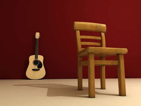 A chair and a classic guitar on stage - 3d render photo