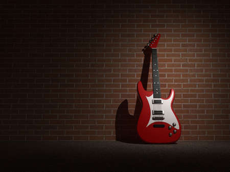 An electric guitar on bricked wall - 3d render Stock Photo