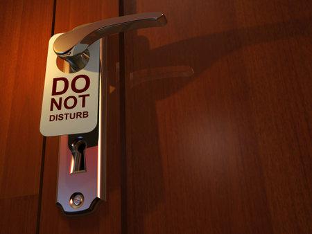 """Ne pas d�ranger """"signe pendaison de l'h�tel poign�e de porte - 3D render"""