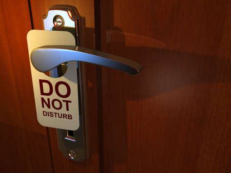inconvenience: Do Not Disturb sign hanging from hotel door handle - 3d render Stock Photo