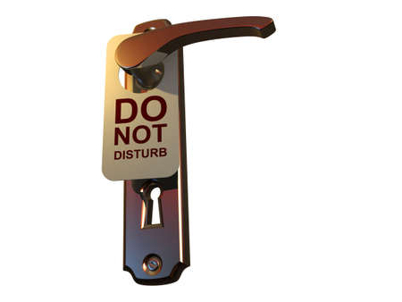 inconvenience: Do Not Disturb sign hanging from hotel door handle isolated on white background - 3d render