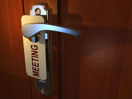 inconvenience: Meeting sign hanging from hotel door handle - 3d render