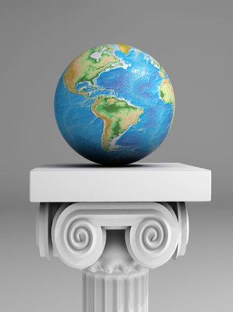 assert: Earth globe on ancient column - 3d render