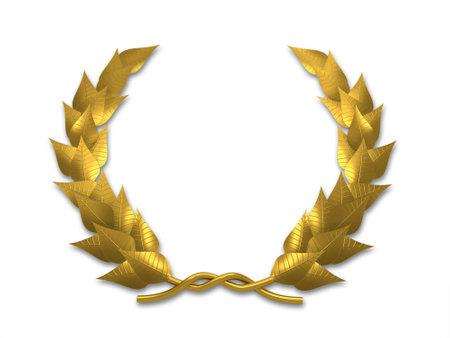 laurels: A golden leaf crest on white background - 3d render