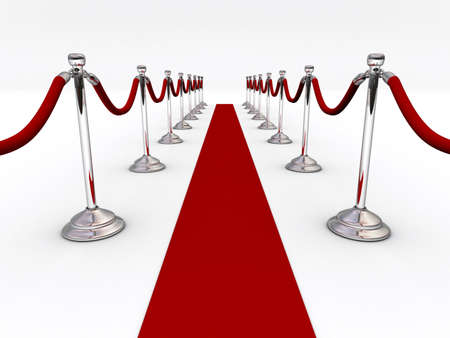A red carpet and velvet rope  - 3d render Stock Photo