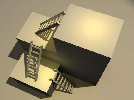 dais: Three ladder and a platform - rendered in 3d Stock Photo