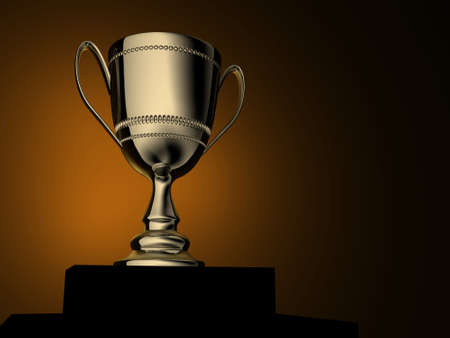 trophy cup: A gold champion cup - rendered in 3d