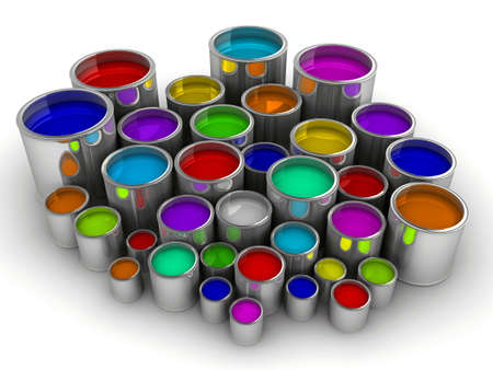 A lot of colorful paint cans on white - rendered in 3d