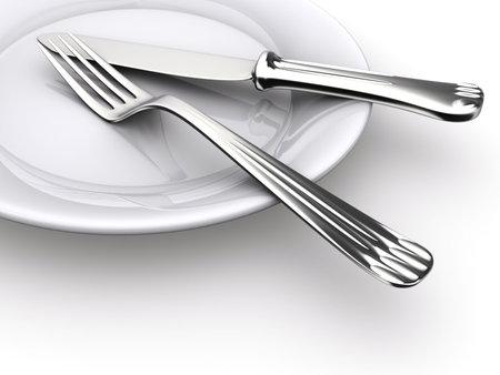 Une assiette, un couteau et une fourchette - rendu en 3D