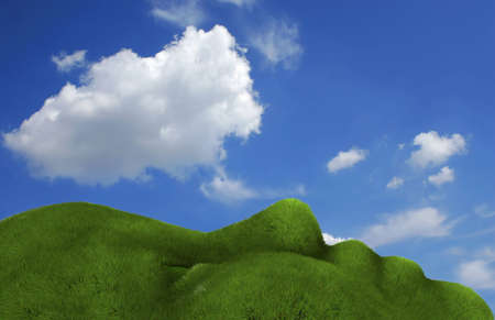 yearning: Summer landscape where the land has a shape of human face with grass - rendered in 3d