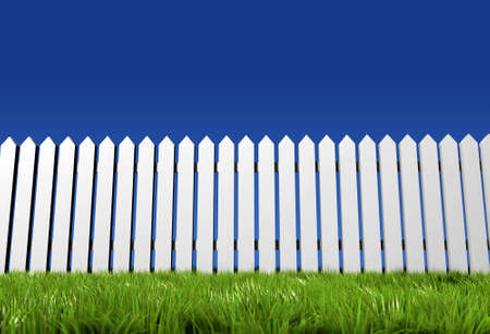 A white fence, grass and blue sky - rendered in 3d
