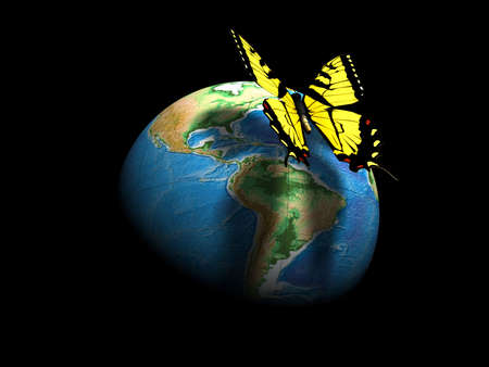 An yellow butterfly on Earth globe - 3d render Stock Photo