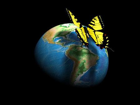 erde gelb: Ein gelber Schmetterling auf der Erde Globus - 3D render