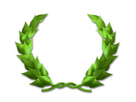 laurels: A green leaf crest on white background - 3d render