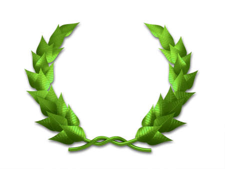 A green leaf crest on white background - 3d render