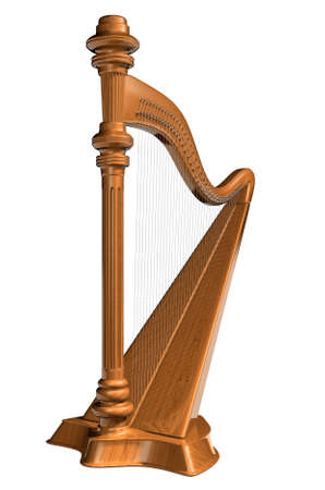 harp: A wooden harp isolated on white background - rendered in 3d Stock Photo