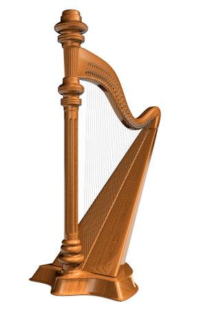 Une harpe bois isol� sur fond blanc - rendu en 3D