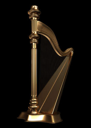 A golden harp on isolated on black background - rendered in 3d Stock Photo