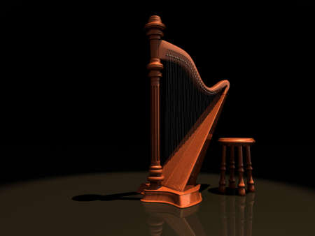 harp: A wooden harp and a chair on stage - rendered in 3d Stock Photo