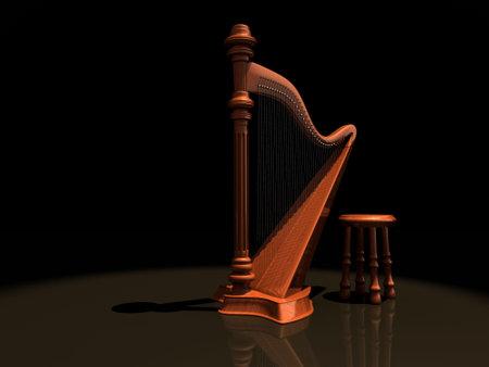 arpa: Un arpa de madera y una silla en el escenario - dictada en 3D