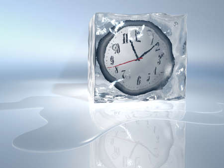 A clock frozen in ice cube - rendered in 3d Stock Photo