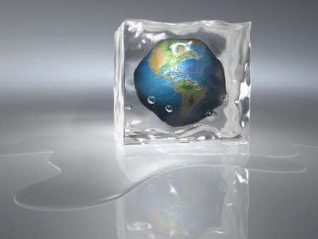 Conceptual Earth globe frozen in an ice cube - 3d render Stock Photo
