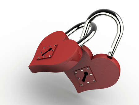 safeness: Two joined padlocks in heart shape on white background - 3d render Stock Photo