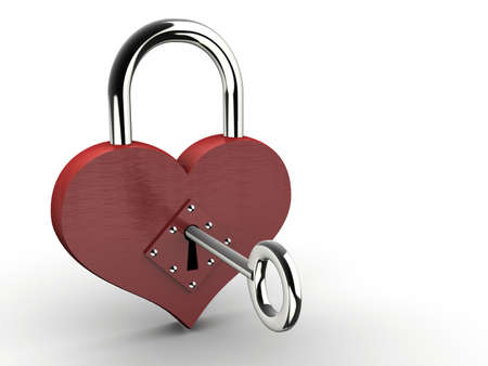 safeness: Heart padlock with key on white background - 3d render