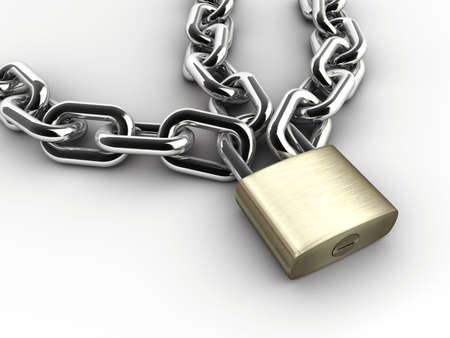 safeness: Chain and padlock on white background - 3d render