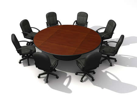 Office chairs and round table - 3d render Stock Photo - 3150985