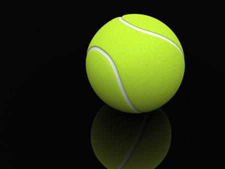 lawn tennis: A lawn tennis ball on black background - 3d render