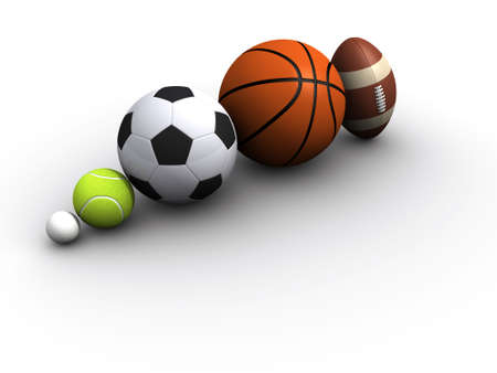 Five different sports on white background - 3d render Stock Photo - 3151058