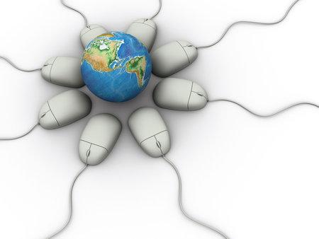 rd: Concettuale terra globo circondato da computer mouse su sfondo bianco - rendere �  Archivio Fotografico