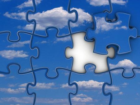 sky metaphor: Jigsaw pieces with sky - 3d render
