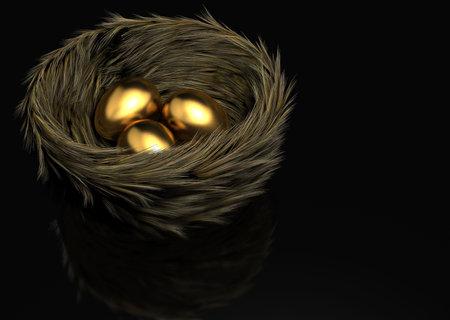 black luck: Three golden eggs in a bird nest - 3d render