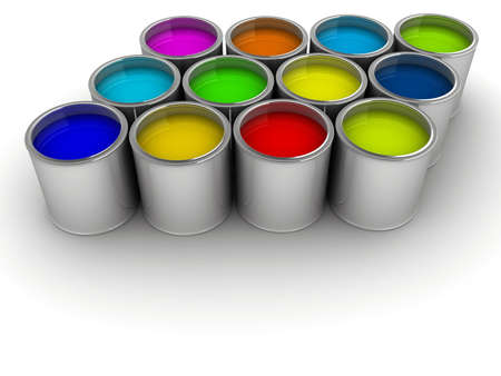 Colorful paint cans on white - rendered in 3d