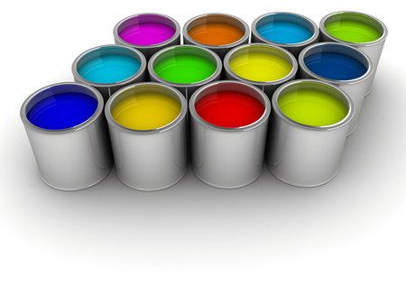 Colorful pots de peinture sur blanc - rendu en 3D