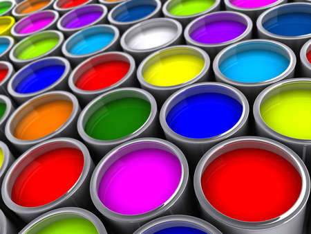 paint cans: Colorful paint cans on white - rendered in 3d