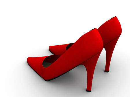 A pair of red high heel shoes on white background - 3d render Stock Photo - 3150775