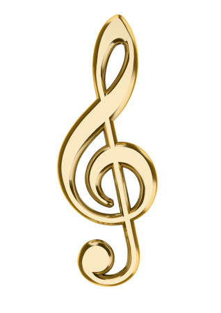 musical note: Close up of musical note isolated on white background - 3d render
