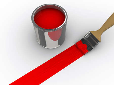 redecorate: A brush painting a red line and a paint can - 3d render