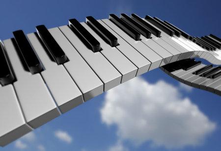 key to freedom: Conceptual piano clave en el cielo de fondo - dictada en 3d
