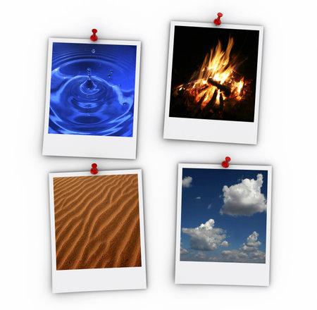 cuatro elementos: Cuatro elementos en papel Polaroid - 3d hacer