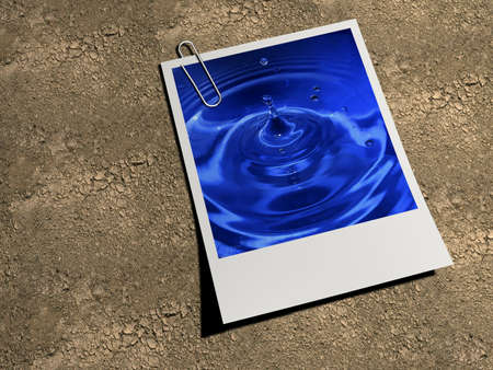 Water picture printed on polaroid on dray land - 3d render Stock Photo