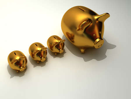 ricavato: Golden piggy bank - resi in 3d