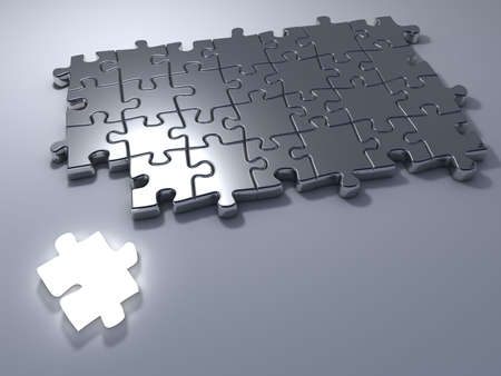 Jigsaw puzzle with an outstanding bright white last one piece - 3d render photo