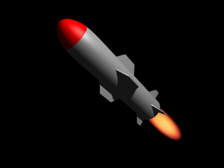 A cruise missile ( rocket ) on black background - rendered in 3d photo