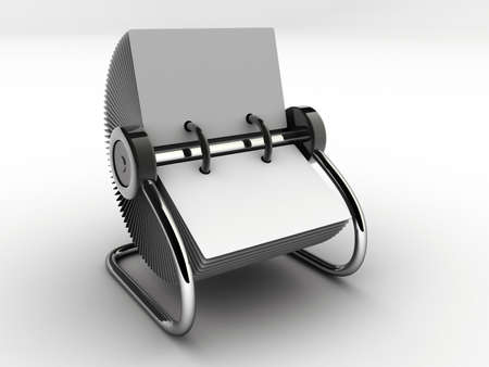 contacting: A blank white rolodex - rendered in 3d