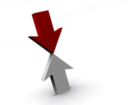 business obstacle: A red and a white arrows in opposite direction - 3d render